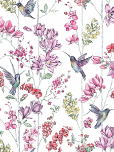 Home & Garden|Wallpaper|Arsenal London  - Floral Charm Hummingbird Wallpaper White Holden 12390