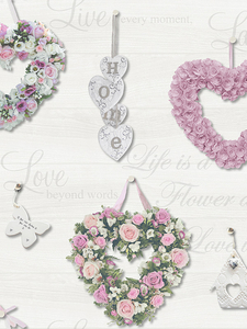 Home & Garden|Wallpaper|Arsenal London  - Gracie Floral Hearts Wallpaper Pink and Grey Holden 12020