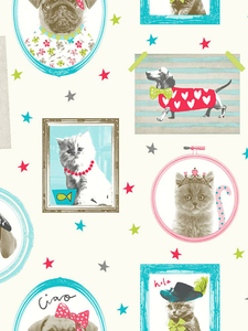 Wallpaper  - Hall of Fame Dogs and Cats Wallpaper Cream Arthouse 668400