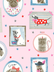 Wallpaper  - Hall of Fame Dogs and Cats Wallpaper Pink Arthouse 668401