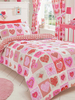 Lace Hearts Single Duvet Cover and Pillowcase Set