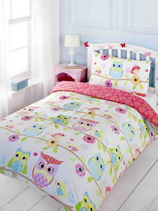 Owl and Friends Single Duvet Cover and Pillowcase Set