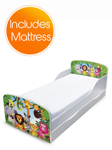 PriceRightHome Jungle Toddler Bed with Underbed Storage and Foam