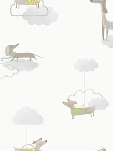 Home & Garden|Wallpaper|Arsenal London  - Walkies Sausage Dog Wallpaper Grey / White Holden 12551