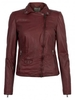 Women's|Leather Jackets & Coats|Leather Trousers Muubaa Lyme Leather Rider Biker Jacket in Cranberry