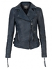 Women's|Leather Jackets & Coats|Leather Trousers Muubaa Reval Leather Fitted Biker Jacket in Petrol