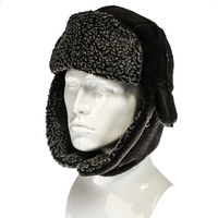 Clothing  - Adult Fleece Lined Ear Flaps Warm Winter Trapper Style Hat - Black Colour