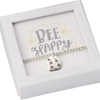 Gifts  - Bee Happy Beaded Bracelet Silver - Gift Boxed