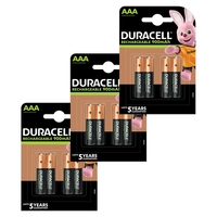 Duracell AAA HR03 Duralock Pre and Stay Charged Rechargeable NiMH Batteries 900mAh - 12 Pack