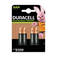 Duracell Rechargeable AAA 900mAh Batteries - 4 Pack