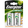 Energizer ACCU Rechargeable D Cell (HR20 / MN1300) NiMh Batteries (2500mAh) - 2 Pack