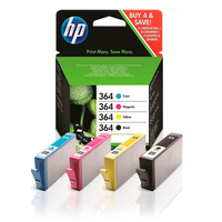 Ink Cartridges for printers  - HP Original 364 Extra Value 4 Colour Combo Pack  (N9J73AE)