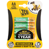 JCB Ready to Use Rechargeable AA LR6 MN1500 NiMh Rechargeable Batteries 2400mAh - 4 Pack