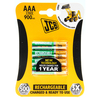 JCB Ready to Use Rechargeable AAA HR03 / MN2400 NiMh Batteries 900mAh - 4 Pack