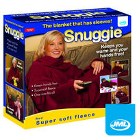 Clothing  - JML Snuggie Blanket - Soft-to-Touch Fleece with Large, Loose Sleeves - Red