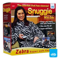 Clothing  - JML Snuggie Blanket - Wild Side - Soft-to-Touch Fleece with Large, Loose Sleeves - Zebra
