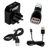 Pama Universal Twin USB Mains and Twin USB Car Chargers with Micro USB and Apple Type Lightning Leads - Fast 2.1A Output