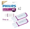Gifts Philips Snow Series USB 3.0 Flash Drive USB 3.0 Memory Stick - 64GB - Twin Pack