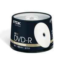 HD-DVD blanks  - TDK DVD-R Recordable Inkjet Printable 120min 4.7GB 16x Speed - 50 Pack