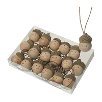 Gifts  - Wooden Christmas Tree Decorations - Acorn Heads x 18