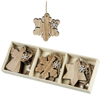 Gifts  - Wooden Christmas Tree Decorations - Angel - Snowflake - Star x9