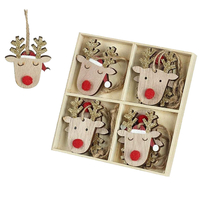 Gifts  - Wooden Christmas Tree Decorations - Reindeer Heads x8