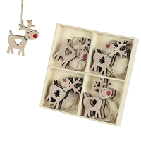 Gifts  - Wooden Christmas Tree Decorations - Reindeer x8