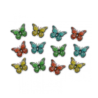 Home & Garden  - Pack of 12 Multicoloured Metal Butterfly Outdoor Garden Home Decoration Wall Art by Primus (AMAZON)