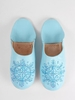 Bohemia Design Moroccan Babouche Sequin Slippers Slight Seconds,  Large (),  Sky Blue