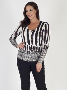 Ivory & Black Brush Stroke Print Cardigan