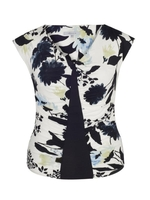 Pullovers & Sweatshirts  - Ivory & Ink Floral Print Camisole with Navy Trim