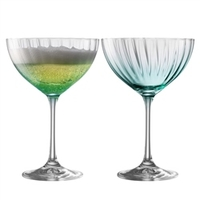 Tableware  - Erne Cocktail/Champagne Saucer Set of 2 in Aqua