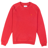 Clothing & Accessories  - Farah Red Longleat Loopback Crew Neck Sweatshirt