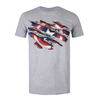 Marvel Captain America Torn Logo Grey Heather T-Shirt