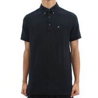 Mens  - J Lindeberg Black Button Down Polo