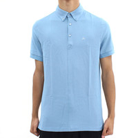 Mens  - J Lindeberg Blue Button Down Polo