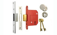 Security Locks & Padlocks  - Deadlock 5 Lever 76 mm B.S.3621 - Polished Brass Lacquered