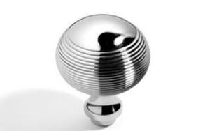 Reeded Spherical Knob 45 mm - Polished Brass Unlacquered
