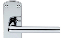 Door Handles  - Uno Lever Lock on Backplate - Satin Chrome Plate