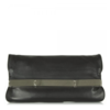 Adalia Black Leather Womens Clutch Bag