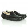 Ascot Black Leather Mens Slippper