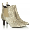Gold Leather Reptile Aclara Ankle Boot
