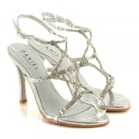 Silver Starships Womens Strappy Diamante Sandal