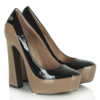 Taupe Patent Linky 51 Contrast Platform Court Shoe