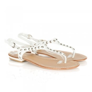 Sandals|High Heels  - White Desimus Womens Flat Studded Sandals