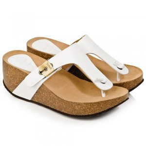 Sandals|Leather Jackets & Coats  - White Edna Womens Wedge Toe Post Sandal