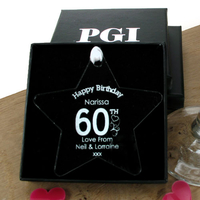 Birthday Gifts  - Personalised 60th Birthday Acrylic Star: Heart
