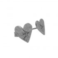 Earrings  - Silver Heart Stud Earrings With Bird Print