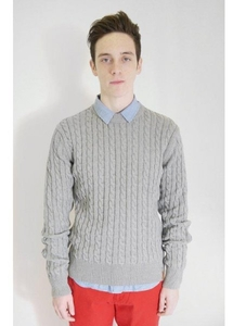 Cable Knit Sweater Grey