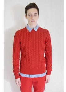 Cable Knit Sweater Red
